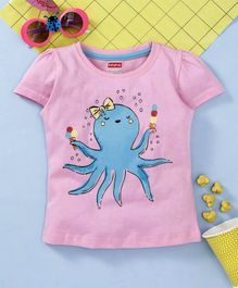Babyhug Half Sleeves Top Octopus Print - Pink