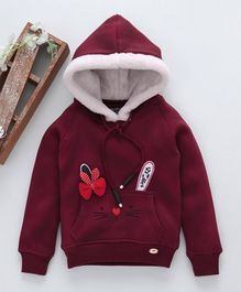 Stupid Cupid Cat Design & Bow Applique Full Sleeves Hoodie - Maroon