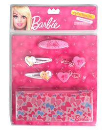 Barbie My Fab Beauty Set Hair Accessories With Bow Pouch - Pink