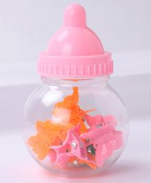 Babyhug Butterfly Clips In A Bottle Pack Of 8 - Orange & Pink