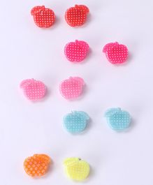 Babyhug Hair Pins Apple Design Pack Of 10 - Multicolour Pink