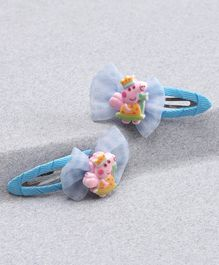 Babyhug Snap Clip Bow & Peppa Pig Applique - Blue