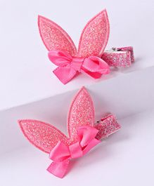 Babyhug Glitter Bow Alligator Hair Clip - Dark Pink