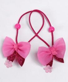 Babyhug Hair Rubber Band With Glitter Bow Pack of 2 - Dark Pink