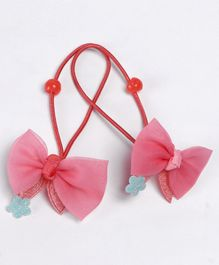 Babyhug Hair Rubber Band With Glitter Bow Pack of 2 - Peach
