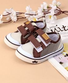 Cute Walk by Babyhug Canvas Shoes Vehicle Design - Cream Brown
