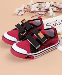 Cute Walk by Babyhug Canvas Shoes Vehicle Design - Red Black