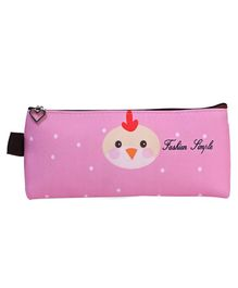 Hen Printed Rectangle Pencil Pouch - Pink