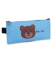 Rectangle Pencil Pouch Teddy Bear Face Print - Blue