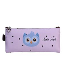Owl Printed Rectangle Pencil Pouch - Purple