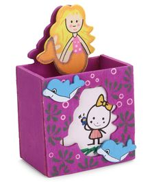 Wooden Mermaid Pen Stand With Paper Holding Clip - Purple