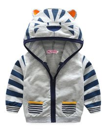 Awabox Tiger Ear Applique Full Sleeves Hooded Jacket - Grey