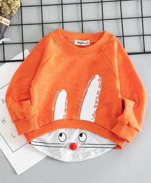Awabox Animal Face Printed Pom Pom Nose Full Sleeves Sweatshirt - Orange