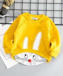 Awabox Animal Face Printed Pom Pom Nose Full Sleeves Sweatshirt - Yellow