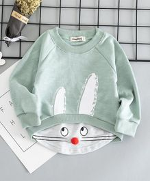 Awabox Animal Face Printed Pom Pom Nose Full Sleeves Sweatshirt - Green