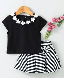 Babyhug Party Wear Cap Sleeves Embellished Top With Striped Skirt - Black