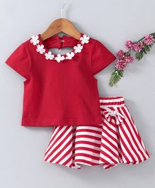 Babyhug Party Wear Cap Sleeves Embellished Top With Striped Skirt - Red