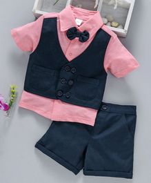 ToffyHouse Half Shirt With Attached Waist Coat Bow & Shorts - Navy Pink