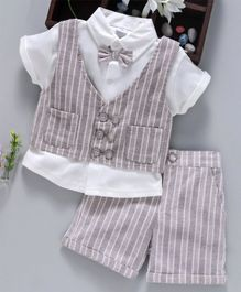 ToffyHouse Half Shirt With Attached Waist Coat Bow & Shorts Striped - Grey