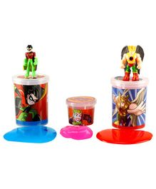 DC Comics Slime Jars Pack Of 3 - Red Pink & Light Blue