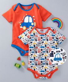 Babyhug Half Sleeves Onesies Car Print Pack of 2 - Orange