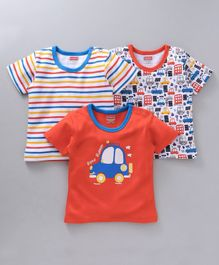 Babyhug Half Sleeves Cotton T-shirts Pack of 3 Stripes & Car Print - Orange & Mutlicolor