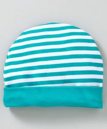 Babyhug Cotton Round Cap Stripes Pattern - Sea Green