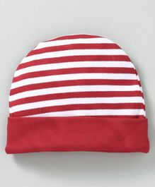 Babyhug Cotton Round Cap Stripes Pattern - Red