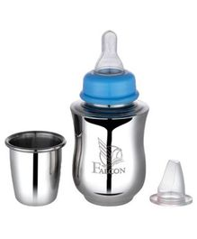 Falcon Moms Choice Steel Feeding Bottle Blue - 175 ml