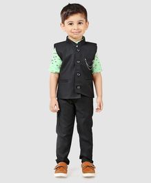 Dapper Dudes Printed Full Sleeves Shirt With Waistcoat & Bottom Set - Green & Black