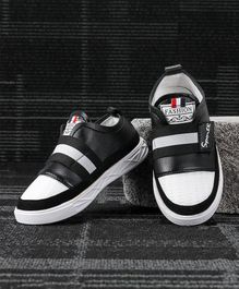 Kidlingss Sports Printed Velcro Straps Shoes - Black