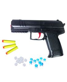 Emob 2 In 1 Water Crystal Jelly Balls & Suction Darts Bullets Air Pistol Gun Toy - Black