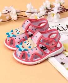 Cute Walk by Babyhug Sandals Teddy Patch - Pink Red