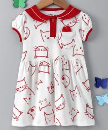 Doreme Puff Sleeves Frock Kitty Print - White Red