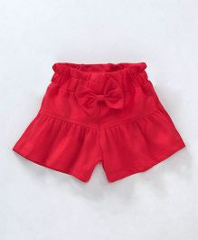 Little Kangaroos Shorts With Bow Applique - Red