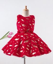 Enfance Leaves Detailed Sleeveless Dress With Belt - Red
