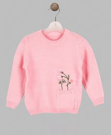 Whitehenz Clothing Flower Design Full Sleeves Sweater - Pink