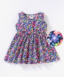 Teddy Sleeveless Frock Floral Print - Navy Blue