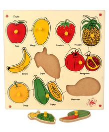 Kinder Creative Wooden 10 Fruits With Knobs Puzzle - Multicolor