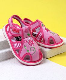 Cute Walk by Babyhug Canvas Sandals Ladybug Patch - Pink
