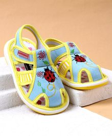 Cute Walk by Babyhug Canvas Sandals Ladybug Patch - Light Blue