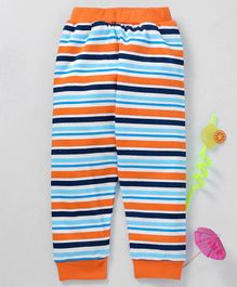 Babyhug Full Length Stripe Cotton Lounge Pant - Orange Blue