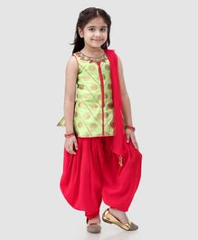 Babyhug Sleeveless Embroidered Patiala Suit With Dupatta - Lime Green Red