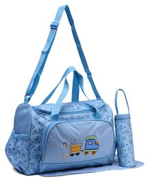 Diaper Bag With Changing Mat & Bottle Cover Vehicle Print - Blue