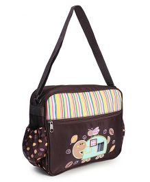 Diaper Bag With Mat Butterfly & Tortoise Print - Brown