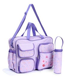 Diaper Bag With Changing Mat And Bottle Holder Floral Patch - Purple
