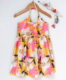 Pspeaches Flower Print Sleeveless Dress - Yellow & Pink
