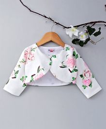 KIDSDEW Rose Flower Print Full Sleeves Shrug - White