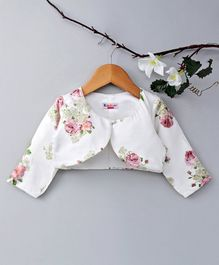 KIDSDEW Floral Print Full Sleeves Shrug - White
