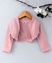 KIDSDEW Glittery Full Sleeves Shrug - Peach